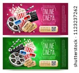 cinema flyers  banners with... | Shutterstock .eps vector #1123237262