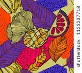 tropical seamless pattern... | Shutterstock .eps vector #1123237718