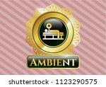 golden emblem with bench press ... | Shutterstock .eps vector #1123290575