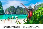 happy traveler woman having fun ... | Shutterstock . vector #1123290698