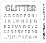 uppercase regular display font... | Shutterstock .eps vector #1123295975