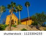 sedona arizona resort palm tree ... | Shutterstock . vector #1123304255