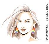 watercolor fashion illustration.... | Shutterstock . vector #1123321802