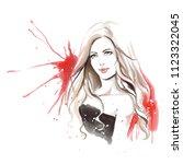watercolor fashion illustration.... | Shutterstock . vector #1123322045