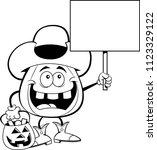 black and white illustration of ... | Shutterstock . vector #1123329122