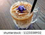 top view of iced coffee with... | Shutterstock . vector #1123338932