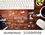 marketing plan with workstation ... | Shutterstock . vector #1123345358