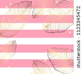gold leaf and  pink strips... | Shutterstock .eps vector #1123345472