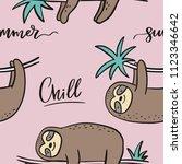 cool cartoon summer print with...   Shutterstock .eps vector #1123346642