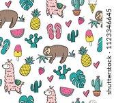 cool cartoon summer print with... | Shutterstock .eps vector #1123346645