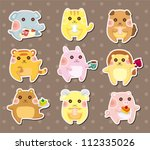 animal tea time stickers | Shutterstock .eps vector #112335026