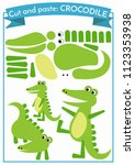 cut and paste.three crocodiles... | Shutterstock .eps vector #1123353938