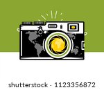 travel photography camera with... | Shutterstock .eps vector #1123356872