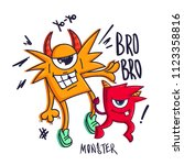 t shirt design with monsters...   Shutterstock .eps vector #1123358816
