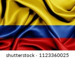 colombia fabric flag waving 3d... | Shutterstock . vector #1123360025