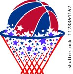 a basketball with star trail... | Shutterstock .eps vector #1123364162
