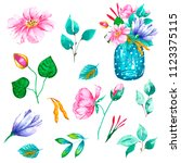 hand painted floral elements... | Shutterstock . vector #1123375115