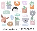 vector set of cute doodle... | Shutterstock .eps vector #1123388852