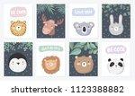 vector set of cute postcards... | Shutterstock .eps vector #1123388882