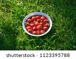 a plate of strawberries  ripe... | Shutterstock . vector #1123395788