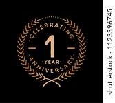 1 year design template. 1st... | Shutterstock .eps vector #1123396745