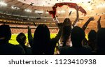 fans celebrating the success of ... | Shutterstock . vector #1123410938