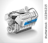 the image of an engine on white ... | Shutterstock .eps vector #112341215