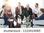 senior businessman and business ... | Shutterstock . vector #1123414085