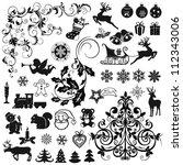 set of christmas icons and...