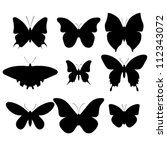 Set Of Nine Black Butterflies...