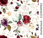 Stock photo seamless pattern with gold and burgundy flowers and leaves hand drawn background floral pattern 1123434962