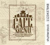 cafe menu list  coffee and... | Shutterstock .eps vector #1123437848