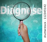 Diagnose, word in Magnifying glass , background medical - stock photo