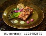 slow cooked salmon fillet steak ... | Shutterstock . vector #1123452572