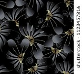ornate dark black floral 3d... | Shutterstock .eps vector #1123457816