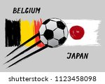 flags of belgium and japan  ... | Shutterstock .eps vector #1123458098