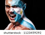 soccer or football fan with... | Shutterstock . vector #1123459292