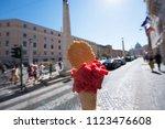 appetizing pink berry ice cream ... | Shutterstock . vector #1123476608
