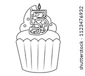 sweet cupcake with candle... | Shutterstock .eps vector #1123476932