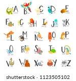 cute zoo alphabet with cartoon... | Shutterstock . vector #1123505102