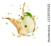 apple fruit water juice yogurt... | Shutterstock . vector #1123525532