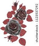 Stock vector gothic bouquet dark roses vector 1123537292