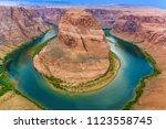 horseshoe bend in colorado... | Shutterstock . vector #1123558745