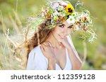girl nature wreath | Shutterstock . vector #112359128