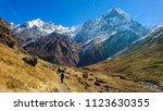 Trekkers Trekking Annapurna...