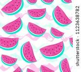 seamless watermelon pattern... | Shutterstock .eps vector #1123638782