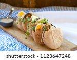 pita sabich sandwich   pita... | Shutterstock . vector #1123647248