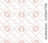 seamless pattern with crabs and ... | Shutterstock .eps vector #1123647728