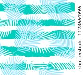 tropical pattern  palm leaves... | Shutterstock .eps vector #1123664996