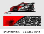 rally car decal design vector.... | Shutterstock .eps vector #1123674545